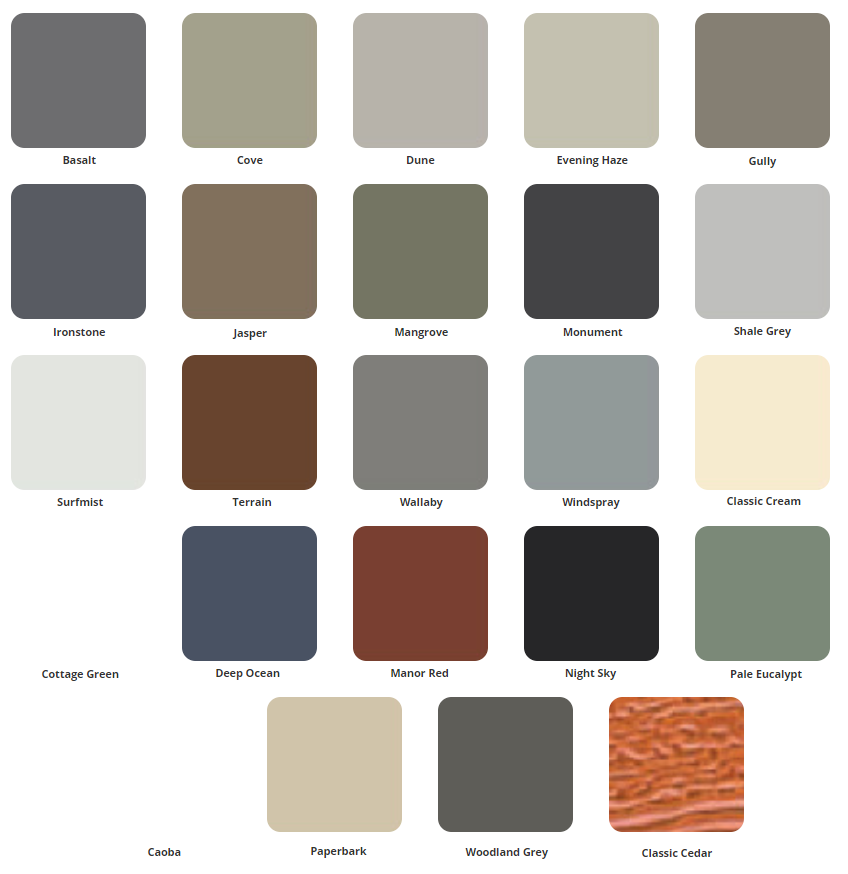 sectional garage colours